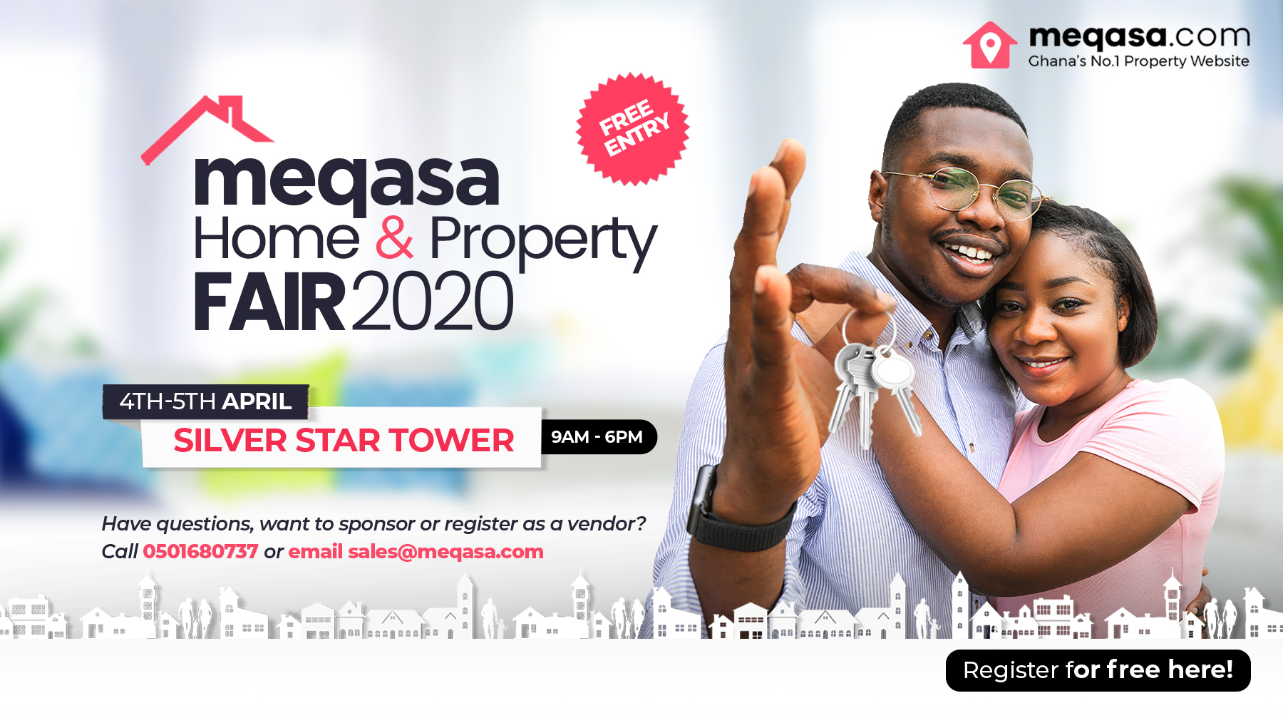 Register for meqasa home & property fair. 4th - 5th April 2020. silver star tower. 9am - 6pm. Free Entry