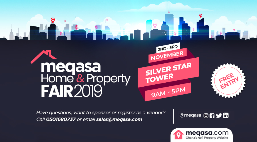 Register for meqasa home & property fair 2019. 2nd - 3rd November 2019. silver star tower. 9am - 5pm. Free Entry